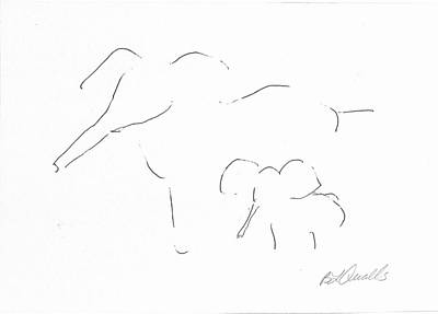 Drawing - Mother And Baby by B L Qualls