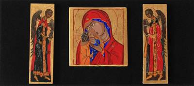 Egg Tempera Painting - Mother And Child With Archangels by Amy Reisland-Speer