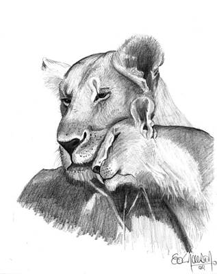 Mother And The Lion Baby Print by Eduardo Crowder