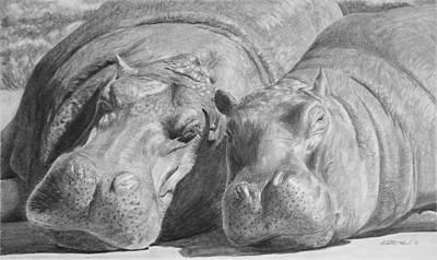 Hippopotamus Drawing - Mother-daughter Time by Heather Ward