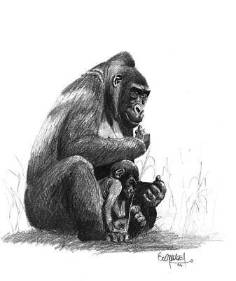 Mother Gorilla And The Baby Print by Eduardo Crowder