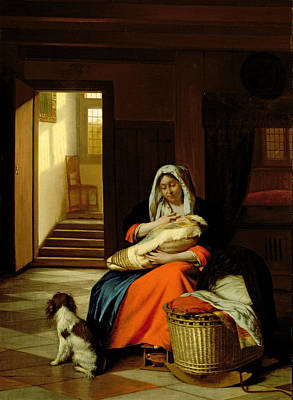 Mother Nursing Her Child Print by  Pieter de Hooch