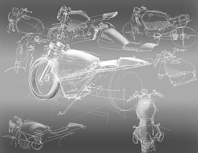 Motorcycle Concept Sketches Print by Jeremy Lacy
