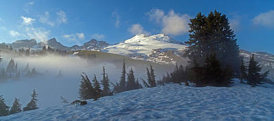 Mount Baker In The Clouds Print by Mike Reid