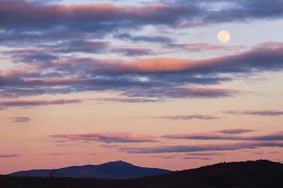 Mount Monadnock Full Moon Sunset Print by John Burk