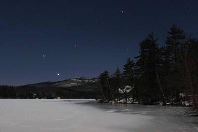 Mount Monadnock Moonlight Stars And Planets Print by John Burk