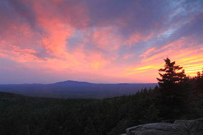 Mount Monadnock Sunset From North Pack Monadnock Print by John Burk