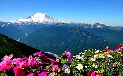 Mount Rainier Seen From Crystal Mountain Summit Print by Tanya  Searcy