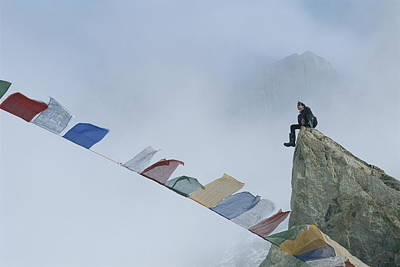 Mountain Climber Alex Lowe Sits Print by Gordon Wiltsie