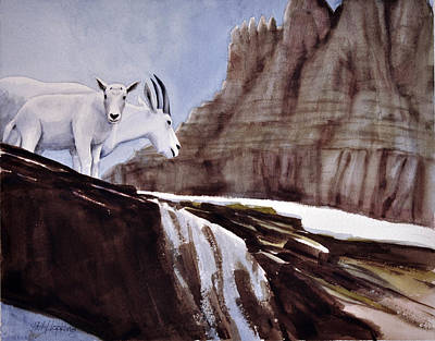 Phil Hopkins Painting - Mountain Goats by Phil Hopkins