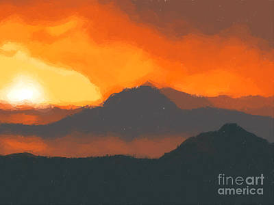 Dramatic Digital Art - Mountain Sunset by Pixel  Chimp