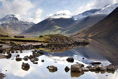 Mountains And Lake At Lake District Print by John Short