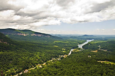 Mountains With Lake In The Valley Print by Susan Leggett