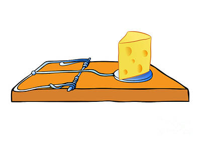 Boobies Drawing - Mousetrap With Cheese - Trap by Michal Boubin