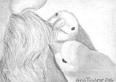 Lovebird Drawing - Moustache Grooming Lovebirds - Aceo by Ana Tirolese