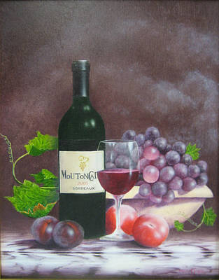 Glass Of Wine Painting - Mouton Cadet by Brett McGrath