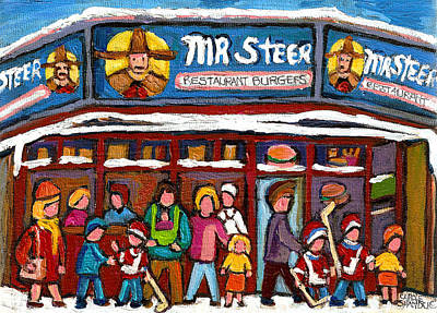 Mr Steer Restaurant Montreal Print by Carole Spandau
