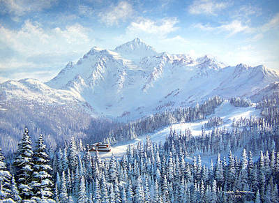 Snowscape Painting - Mt. Shuksan White Salmon Lodge by Ian Henderson