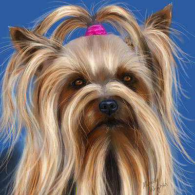 Pet Portraits Digital Art - Muffin - Silky Terrier Dog by Michelle Wrighton