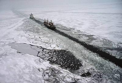 Transportation Of Goods Photograph - Multinational Fleet Of Icebreakers by Cotton Coulson