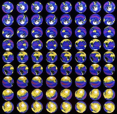 Multiple Satellite Images Of The Earth's Biosphere Print by Dr Gene Feldman, Nasa Gsfc
