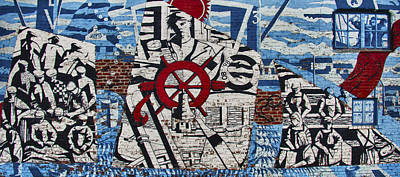 Mural On Wall At Mallaig Harbour In Scotland  Print by Zoe Ferrie