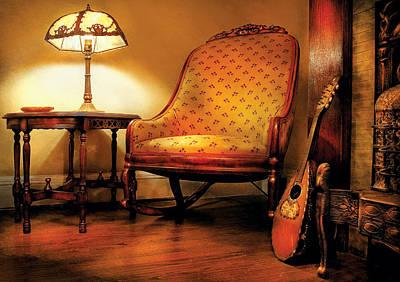 Table Lamp Photograph - Music - String - The Chair And The Lute by Mike Savad