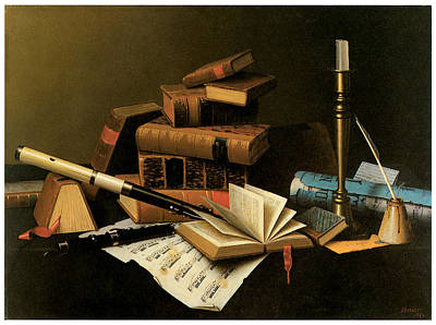 Music And Literature Print by William Harnett