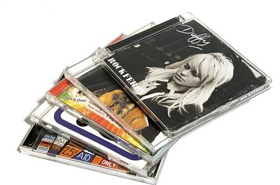 Music Cd Cases Print by Johnny Greig