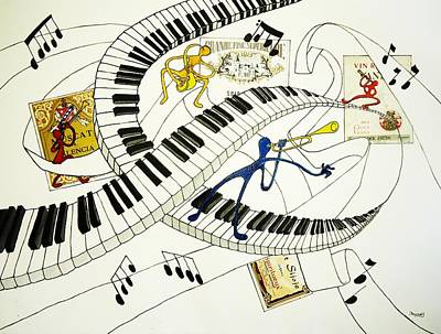 Musical Happy People With Wine Print by Glenn Calloway