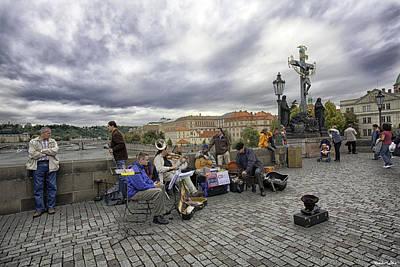 Musicians On The Charles Bridge - Prague Print by Madeline Ellis