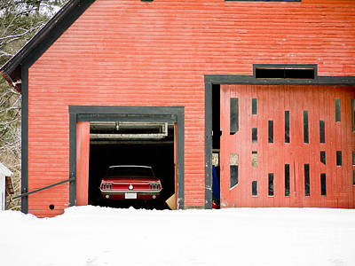 Mustang Car Barn Print by Edward Fielding