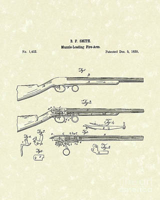 Muzzleloader Drawing - Muzzle Loading Firearm 1839 Patent Art by Prior Art Design