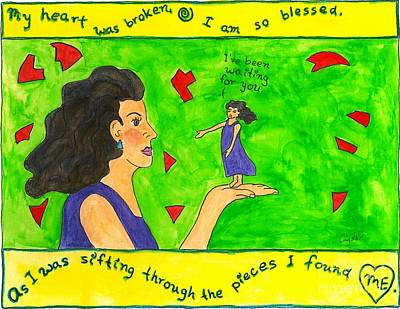 Self Discovery Painting - My Heart Was Broken. I Am So Blessed... by Heart-Led Woman