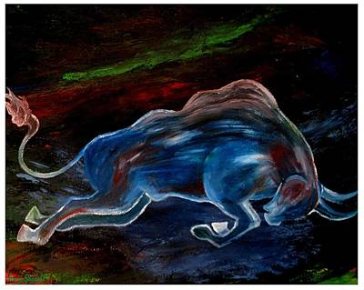 Steer Painting - My Love Begins by Amy Sorrell