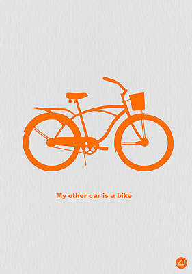 Single Digital Art - My Other Car Is Bike by Naxart Studio