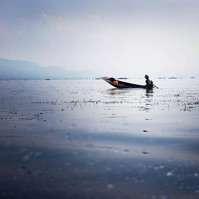 Rain Drops Photograph - Myanmar Fisherman by Nina Papiorek