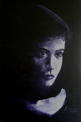 Monotone Painting - Mystery Woman In Scarf by Raynette Mitchell