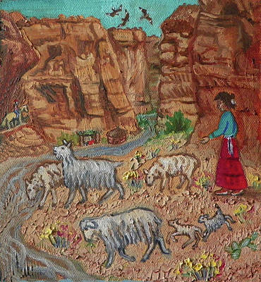 First Tribes Painting - N Is For Navajo Detail From Childhood Quilt Painting by Dawn Senior-Trask