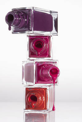 Reflections On Bottle Photograph - Nail Polish Dripping From A Stack Of Bottles by Larry Washburn