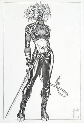 Fantasy Drawing - Nakita - The Dark Child by Sean Smith