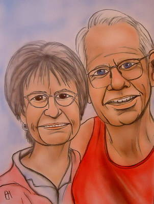 Companion Drawing - Nanny And Poppy by Pete Maier