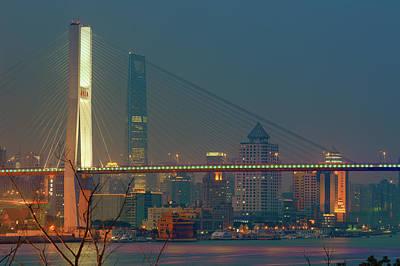 Nanpu Bridges At Sunset In Shanghai Print by Blackstation