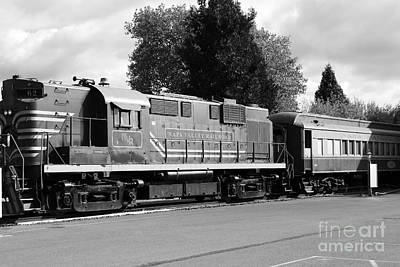 Napa Valley And Vineyards Photograph - Napa Valley Railroad Wine Train Locomotive In Napa California Wine Country . Black And White . 7d899 by Wingsdomain Art and Photography