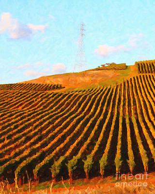 Napa Valley Digital Art - Napa Valley Vineyard . Portrait Cut by Wingsdomain Art and Photography