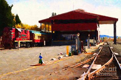 Napa Valley Digital Art - Napa Wine Train At The Napa Valley Railroad Station by Wingsdomain Art and Photography