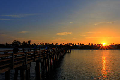 Naples Pier Sunrise Print by Sean Allen