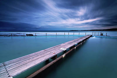 Narrabeen Tidal Pool By Night, Sydney, Australia Print by Yury Prokopenko