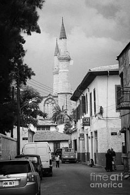 narrow city streets leading to Selimiye mosque formerly saint sophia cathedral nicosia lefkosia TRNC Print by Joe Fox