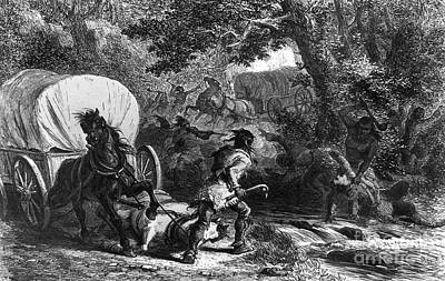 Wagon Train Photograph - Native American Attack by Granger